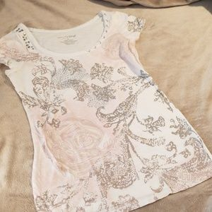 RXB size small decorative tee with silver sequins